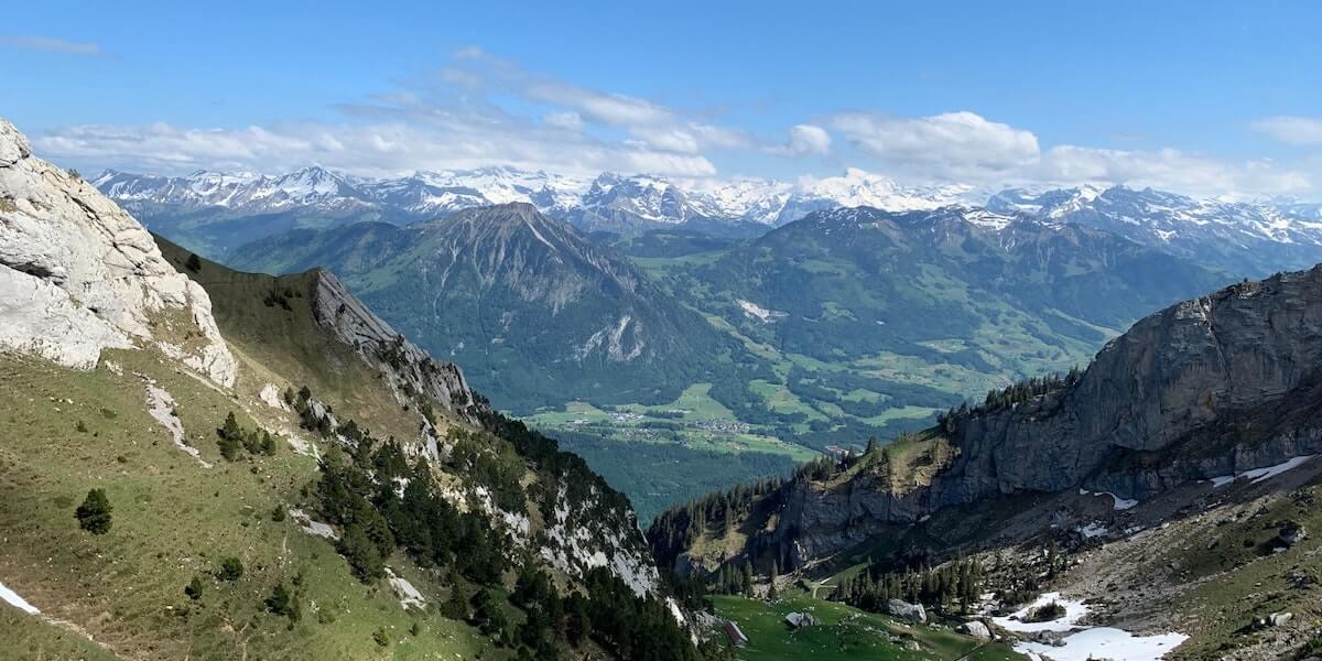 mountain view of mount pilatus and surrounding mountains